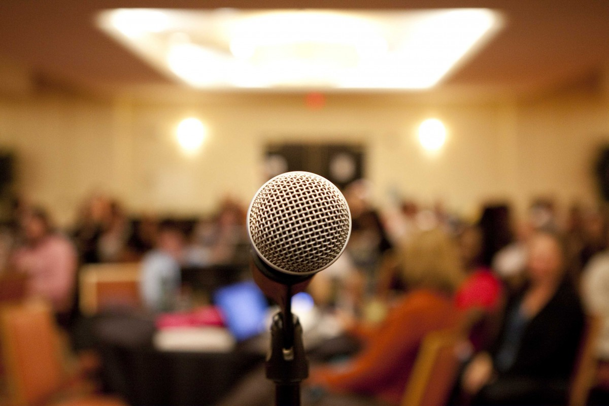 Microphone in town hall meeting