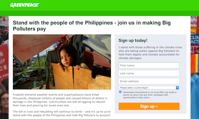 Greenpeace Big Polluters campaign page