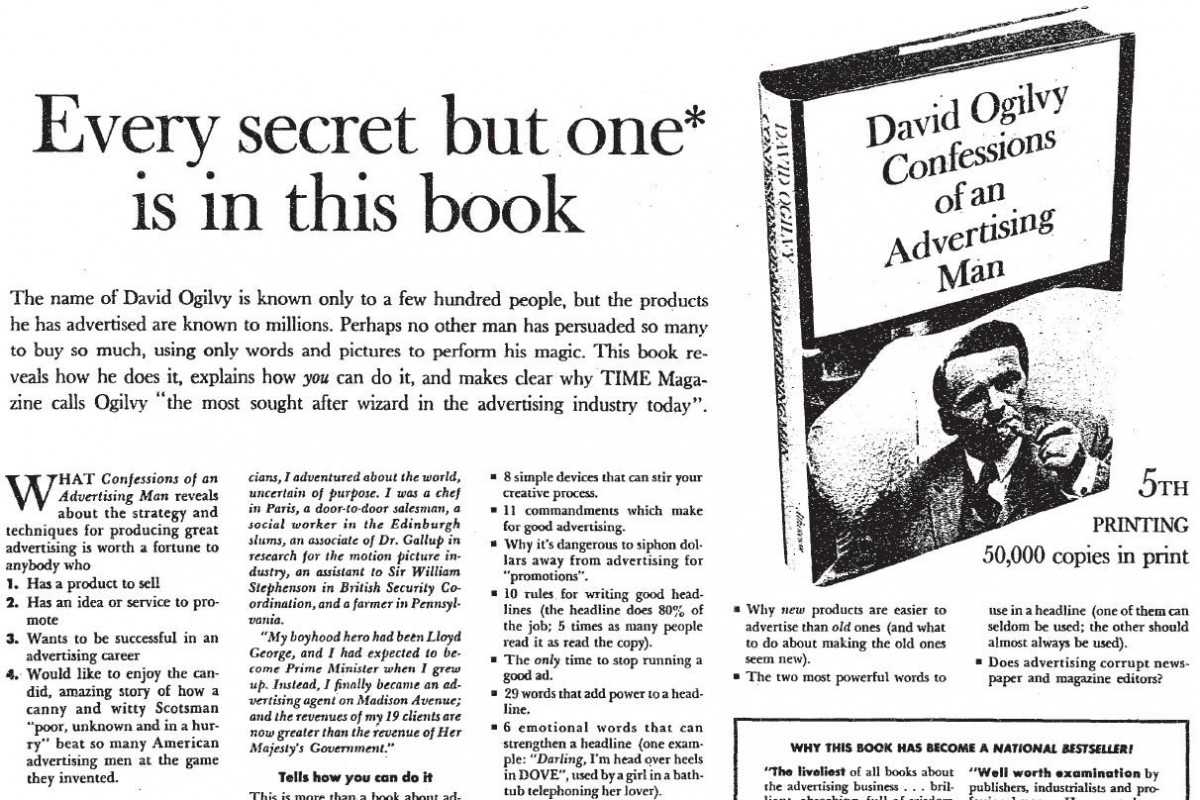 An with a clever headline for David Ogilvy's book on advertising and writing