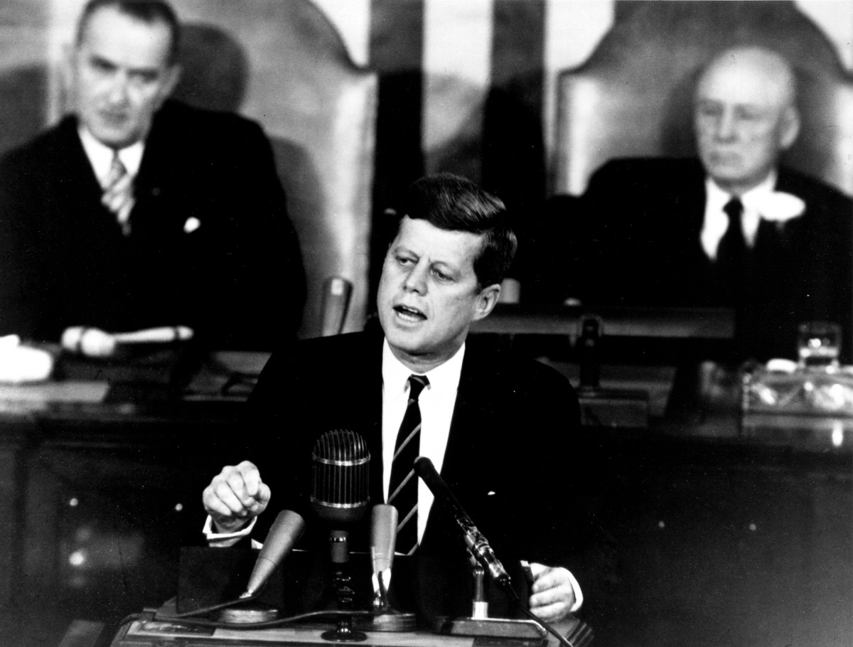 President John F Kennedy giving a speech to congress in 1961