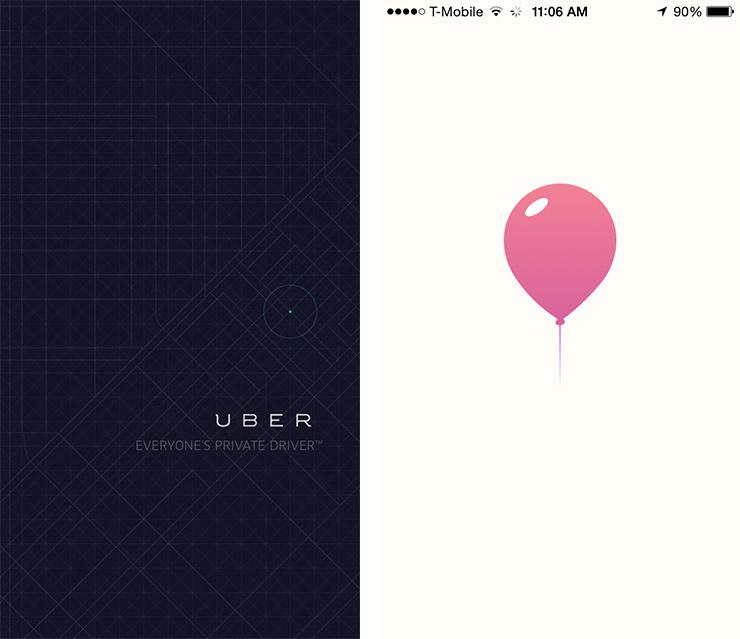Lyft and Uber splash screens