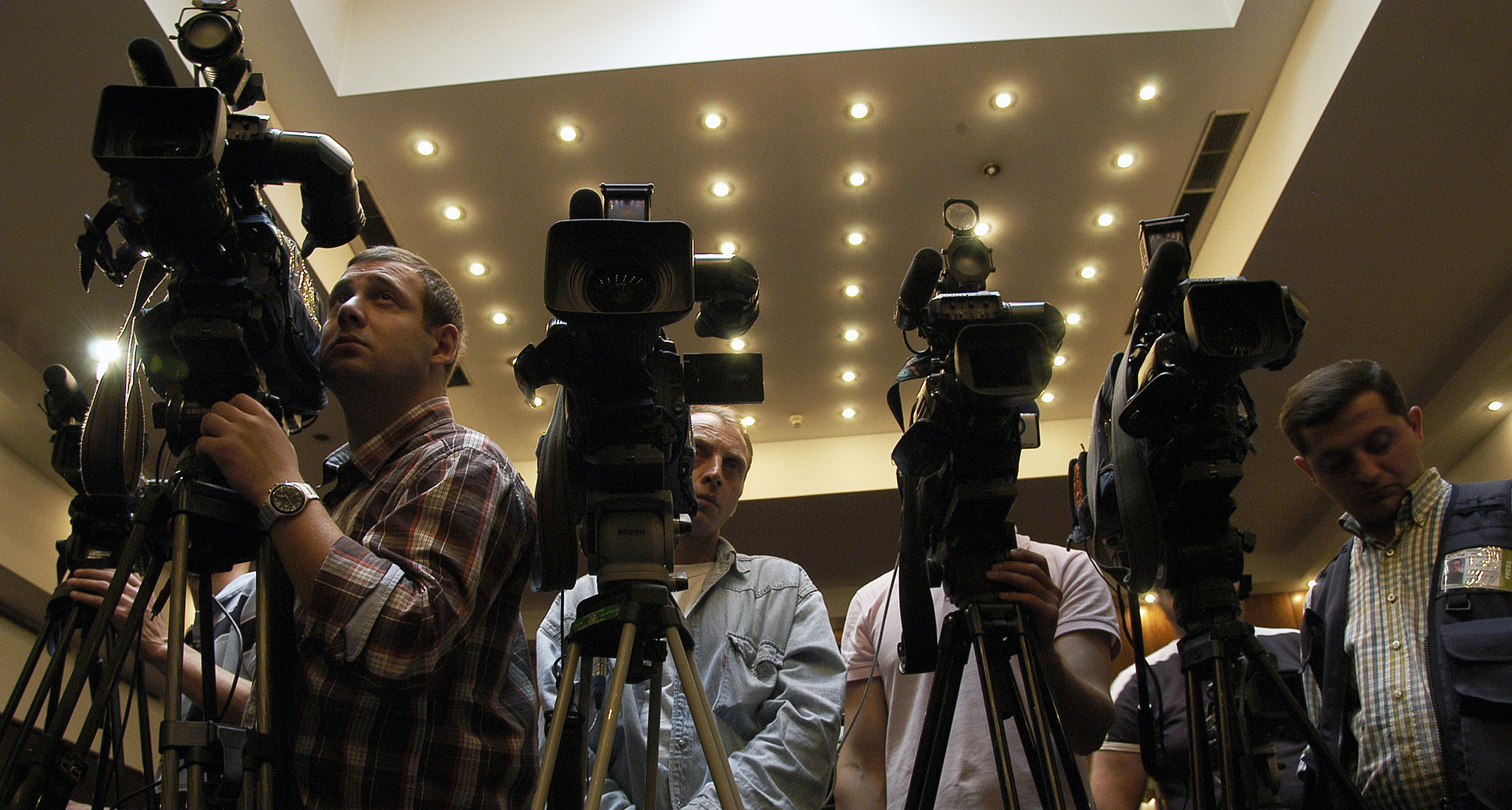 TV cameras at a press conference