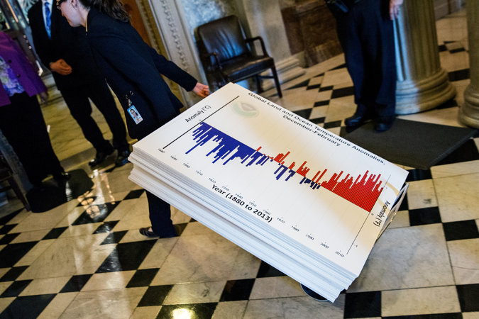 "Graphs being wheelered into the Senate chamber before an all-night session by the ""climate caucus."""